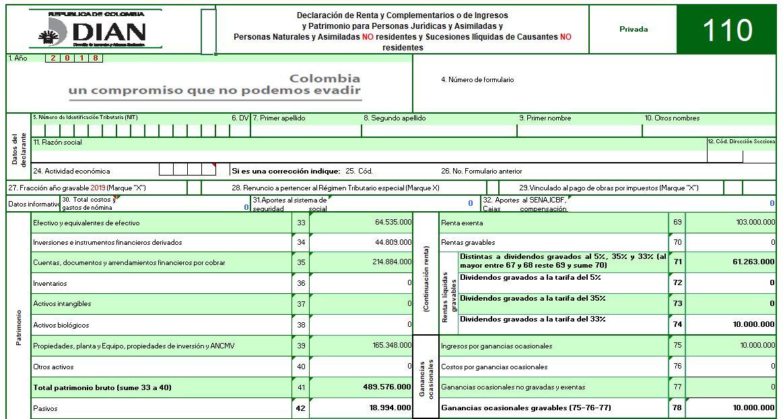 Formulario 110 declaración de renta de personas naturales AG 2018 – No obligados a llevar contabilidad
