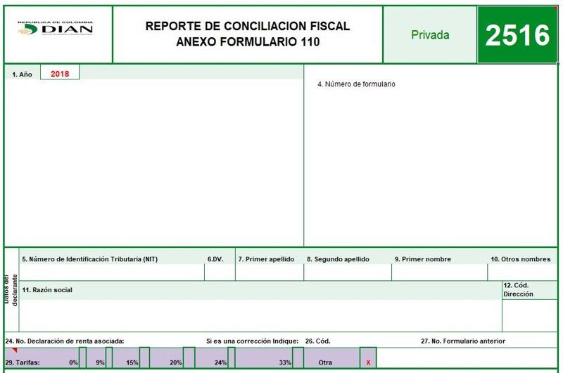 Formulario 110 y formato 2516 declaración de renta 2018 de personas naturales obligadas a llevar contabilidad