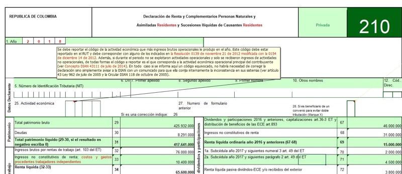 Formulario 210 declaración de renta año gravable 2018 – Residentes no obligados a llevar contabilidad