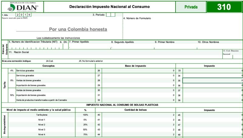 Formulario 310: declaración del impuesto nacional al consumo (plantilla para borrador)
