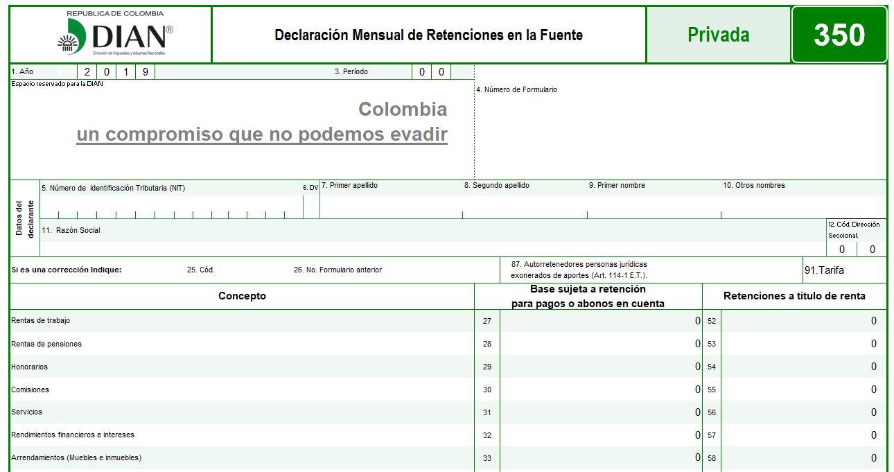 Formulario 350: Declaración Mensual de Retención en la Fuente (plantilla avanzada)