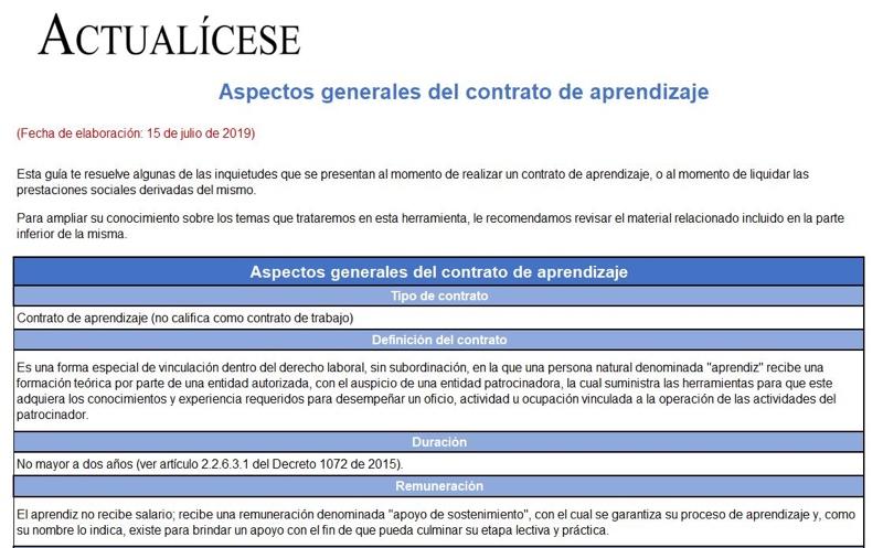 Aspectos generales del contrato de aprendizaje