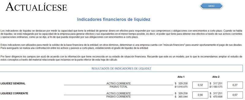 Indicadores financieros de liquidez, endeudamiento, actividad y rentabilidad