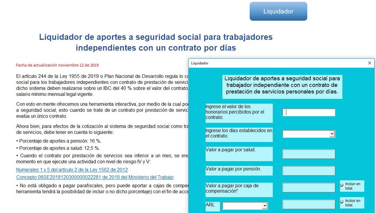 Aportes a seguridad social para trabajadores independientes con un contrato por días