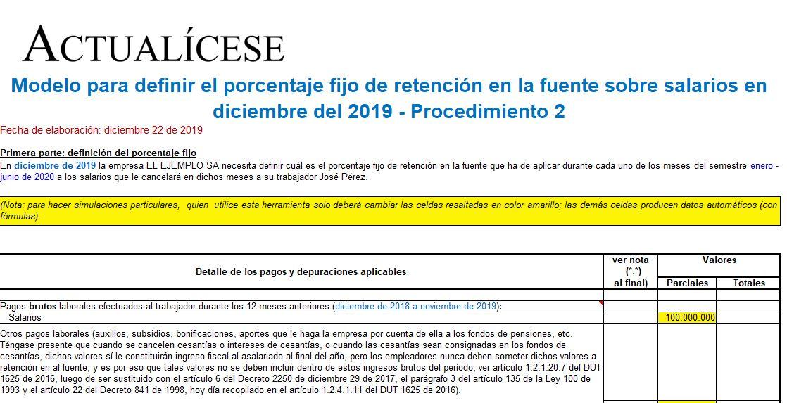 Porcentaje fijo de retención en la fuente sobre salarios en diciembre de 2019 – Procedimiento 2