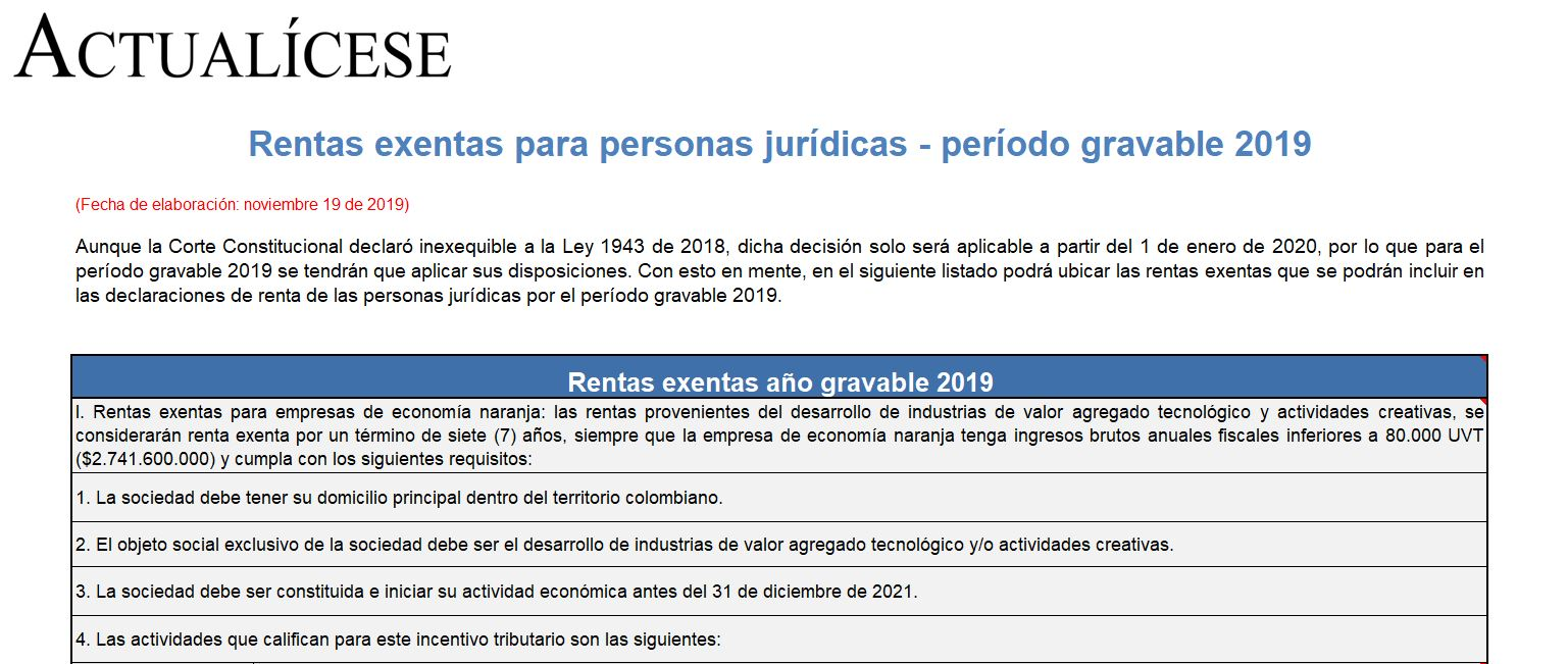 Rentas exentas para personas jurídicas – período gravable 2019