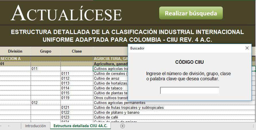 Listado de actividades económicas (códigos CIIU)
