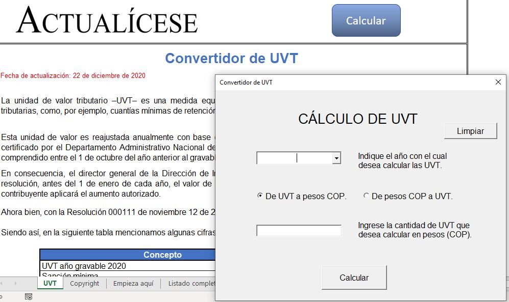Convertidor de UVT