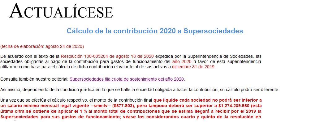 Cálculo de la contribución 2020 a Supersociedades