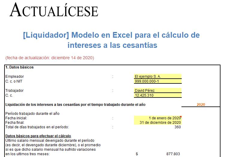 Modelo en Excel para el cálculo de intereses a las cesantías