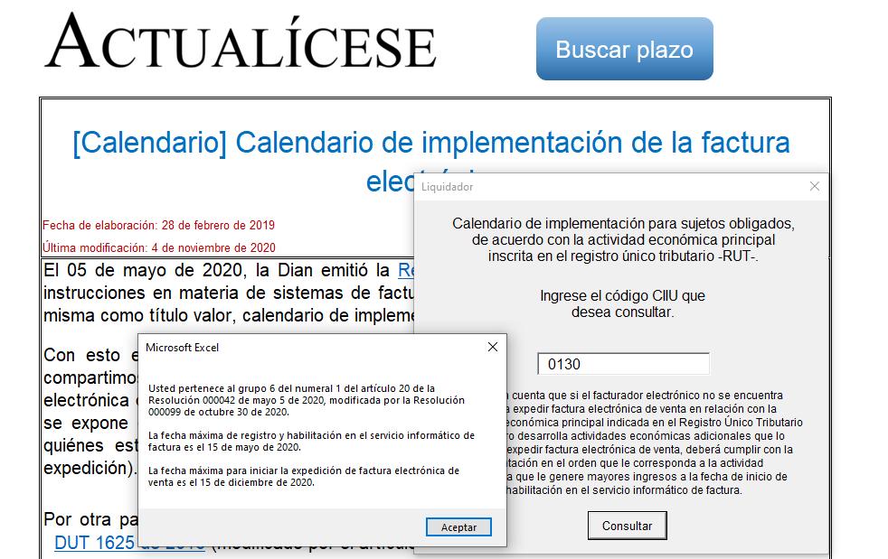 Calendario automatizado de implementación de la facturación electrónica
