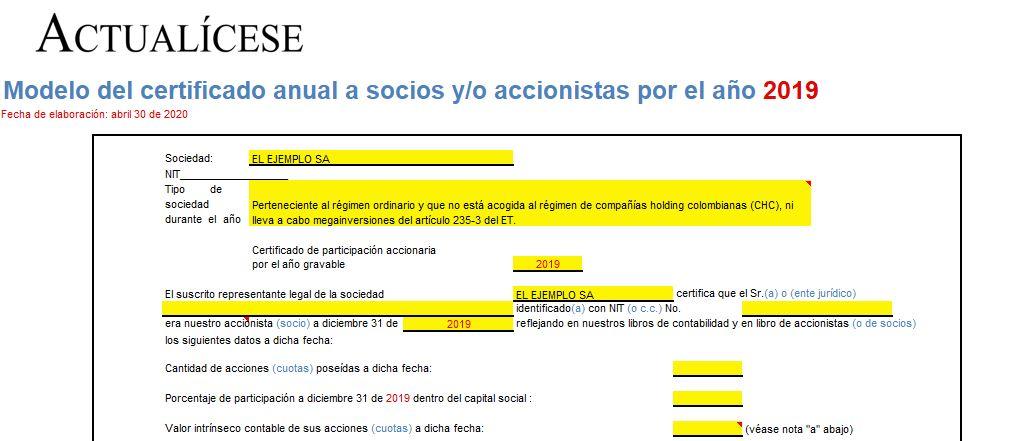 Modelo del certificado anual para socios y/o accionistas por el año 2019