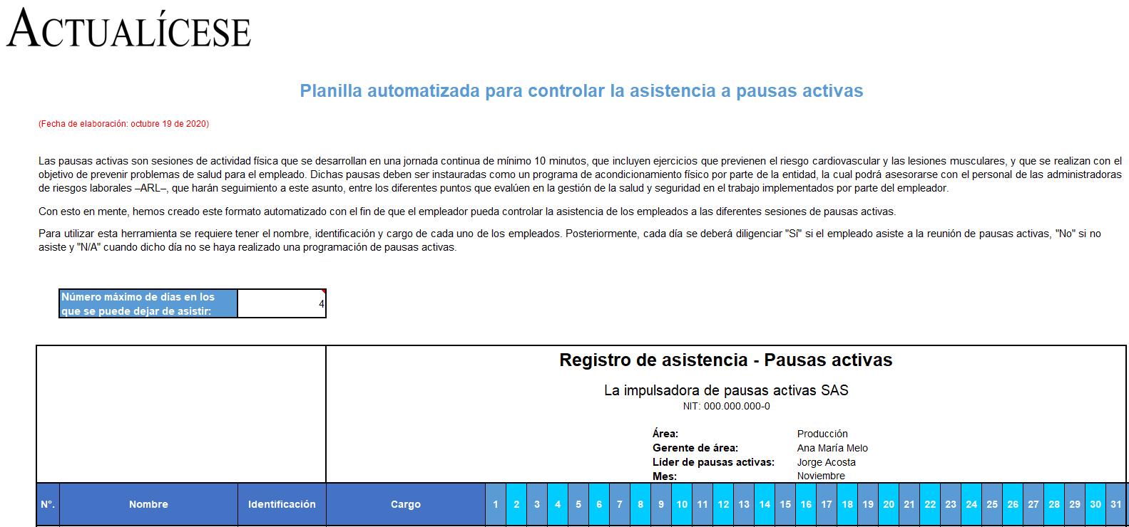 Planilla automatizada para controlar la asistencia a pausas activas
