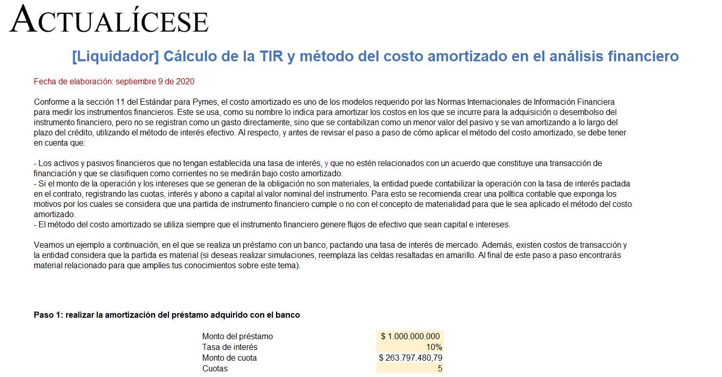 Cálculo de la TIR y técnica del costo amortizado en el análisis financiero