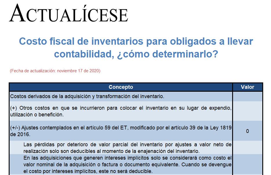 Costo fiscal de inventarios para obligados a llevar contabilidad, ¿cómo determinarlo?