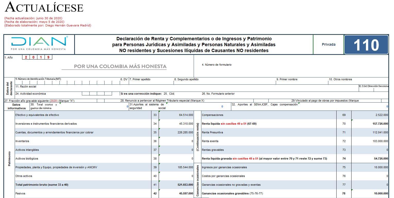 Formulario 110 de declaración de renta de personas naturales, AG 2019 – no obligados a llevar contabilidad