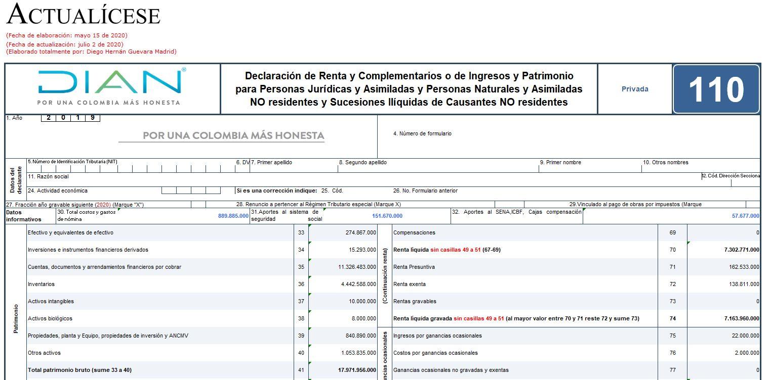 Formulario 110 y formato 2516 para declaración de renta 2019 de personas naturales obligadas a llevar contabilidad