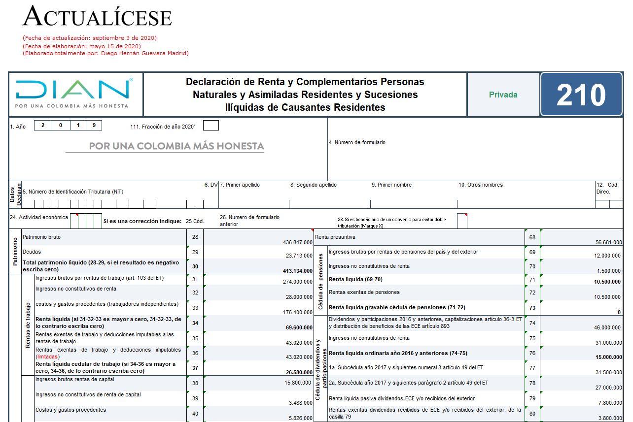 Formulario 210 de declaración de renta, año gravable 2019 – residentes no obligados a llevar contabilidad