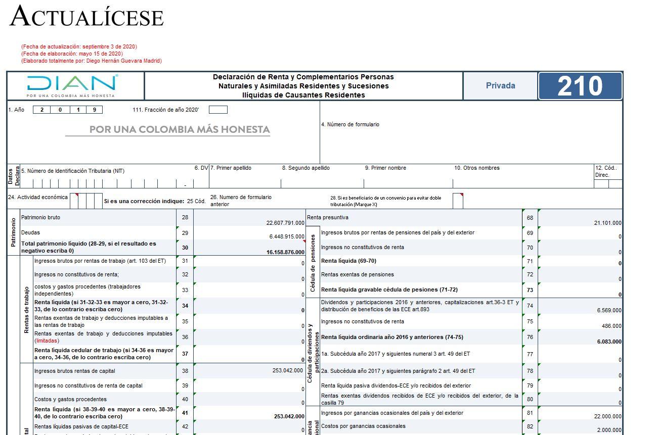 Formulario 210 y formato 2517 para declaración de renta AG 2019 – residentes que llevan contabilidad