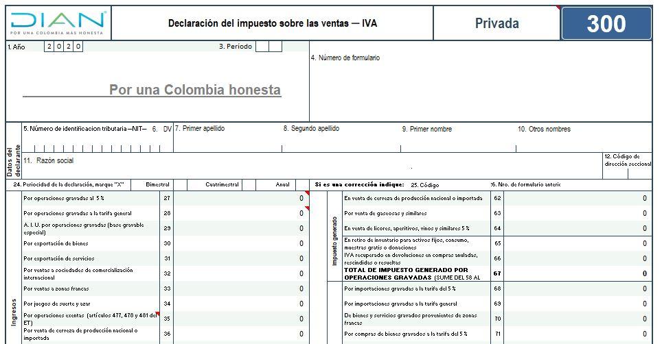 Plantilla para elaborar el formulario 300 para las declaraciones del IVA durante 2020