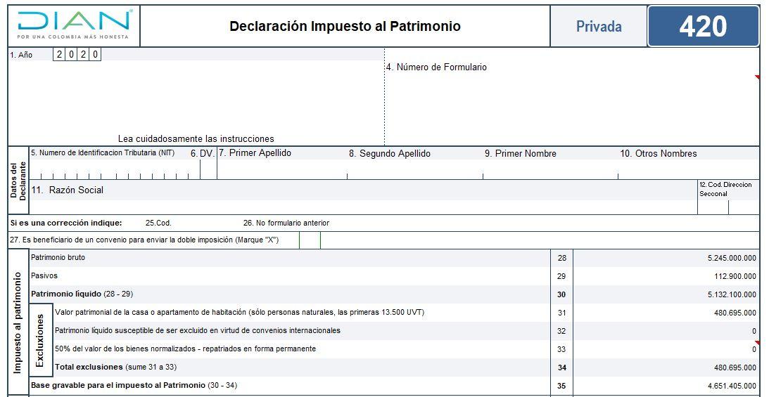 Formulario 420: declaración de impuesto al patrimonio 2020