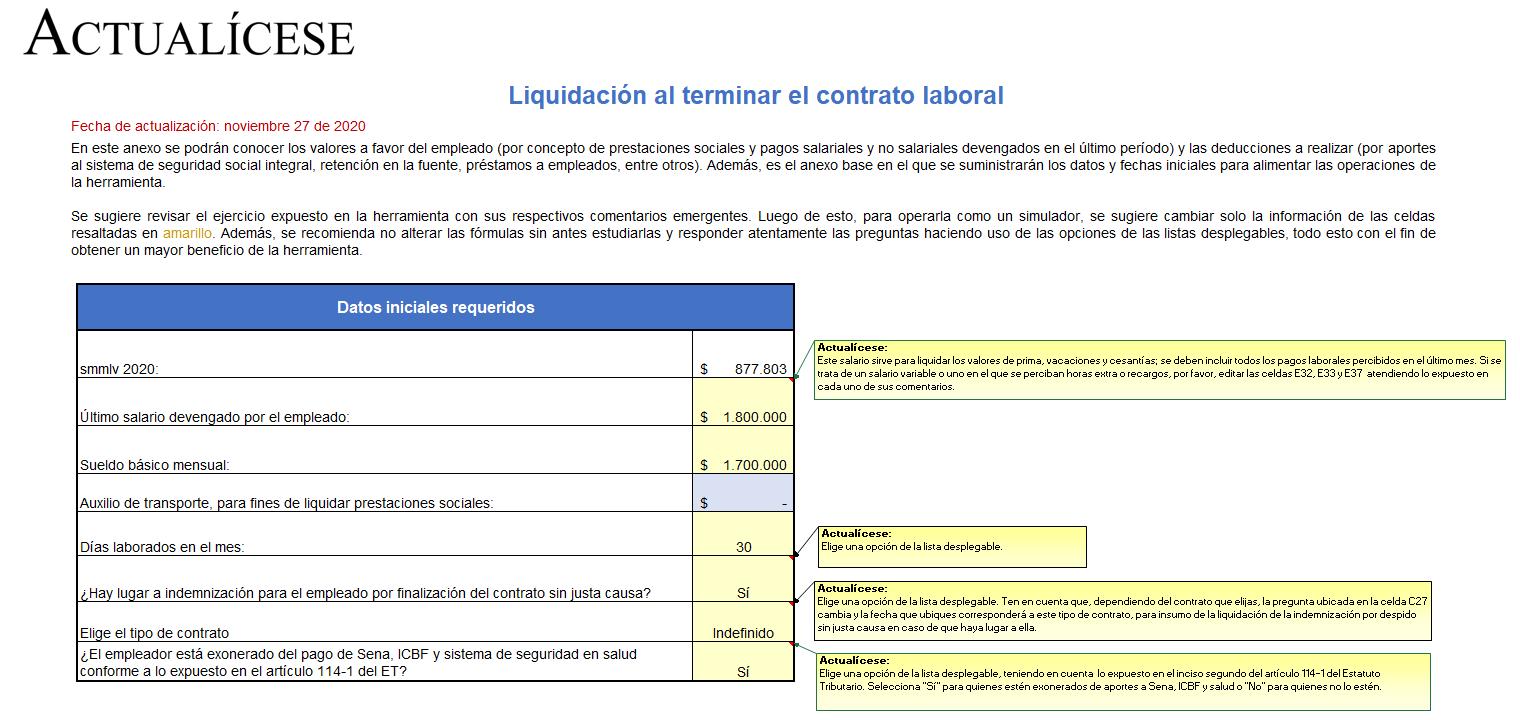 Simulador en Excel para realizar la liquidación de contratos de trabajo