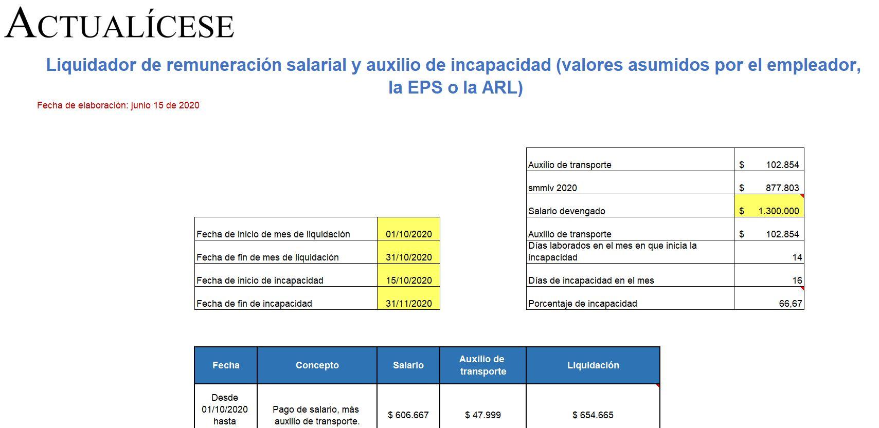 Liquidador de auxilio de incapacidad (valores asumidos por el empleador, la EPS o la ARL)