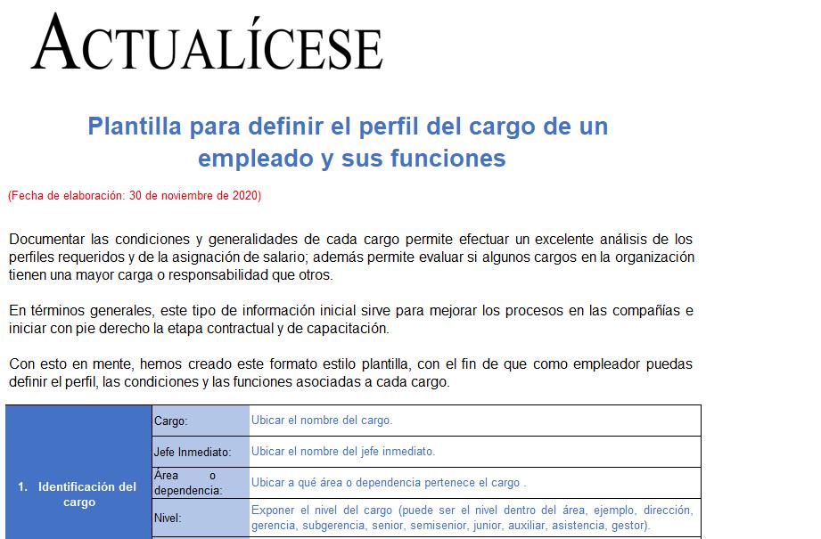 Plantilla para definir el perfil del cargo de un empleado y sus funciones