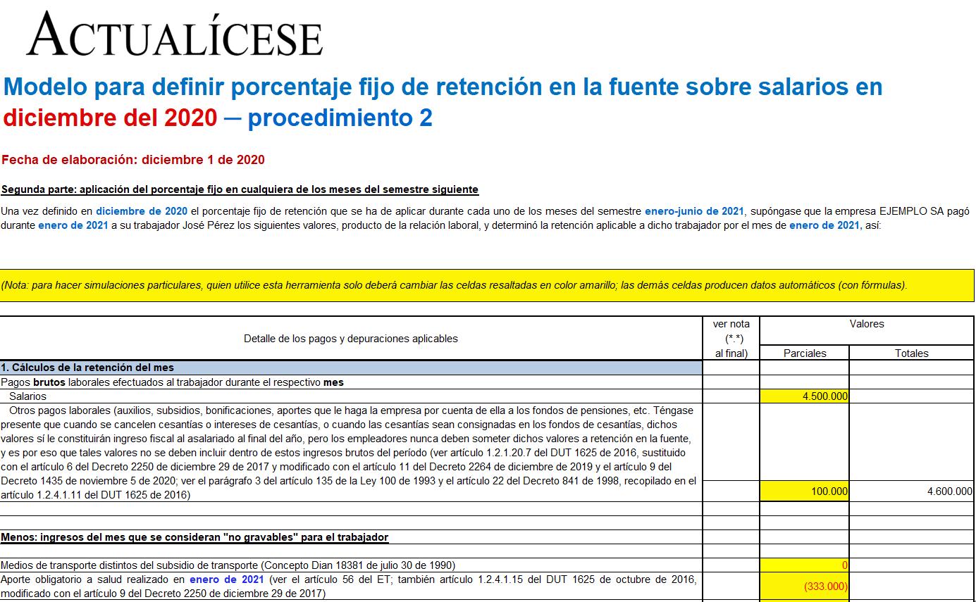 Liquidador de procedimiento 2 con porcentaje fijo para la retención sobre salarios en diciembre de 2020