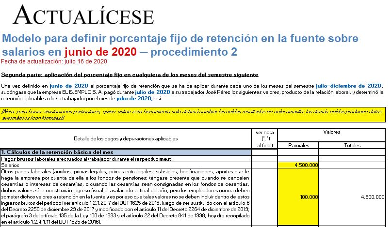 Porcentaje fijo de retención en la fuente sobre pagos laborales en junio de 2020 – procedimiento 2
