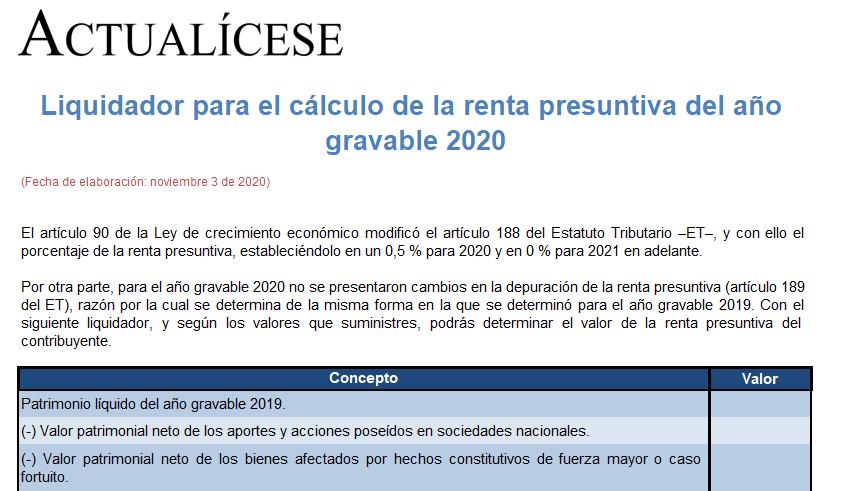 Liquidador para el cálculo de la renta presuntiva del año gravable 2020