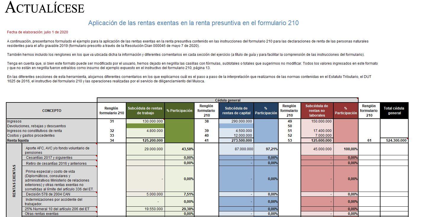 Aplicación de las rentas exentas en la renta presuntiva en el formulario 210