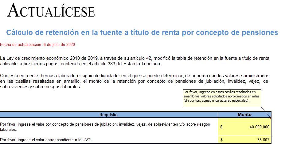 Cálculo retención en la fuente a título de renta por concepto de pensiones