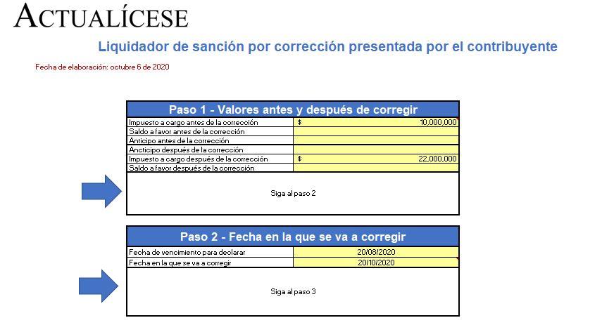 Liquidador de sanción por corrección presentada por el contribuyente