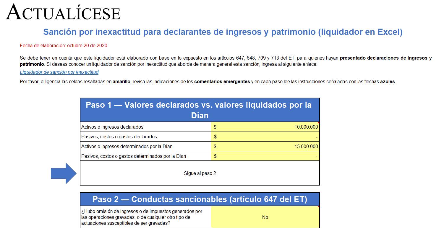 Sanción por inexactitud para declarantes de ingresos y patrimonio (liquidador en Excel)