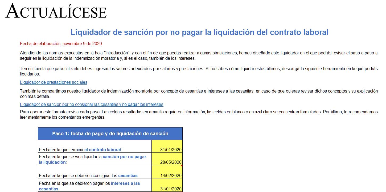 Simulador de sanción por no pagar la liquidación del contrato laboral