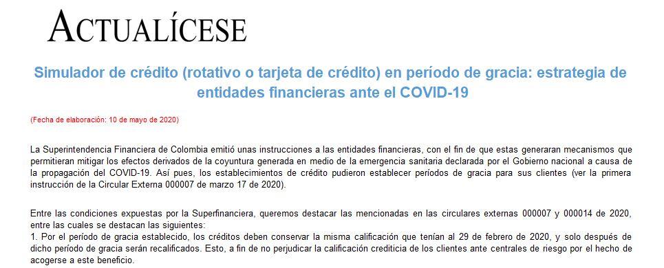 [Liquidador] Simulador de crédito en período de gracia: estrategia de entidades financieras ante el COVID-19