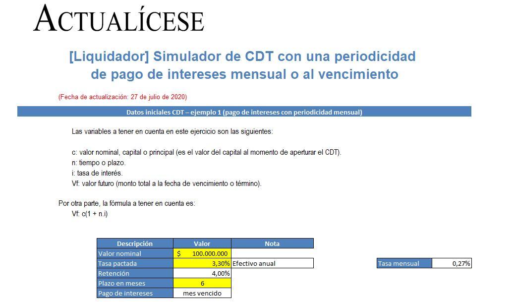 Simulador de CDT con una periodicidad de pago de intereses mensual o al vencimiento