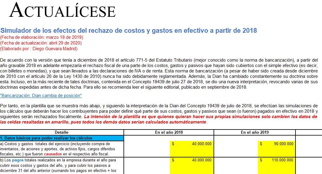 Simulador de los efectos del rechazo de costos y gastos en efectivo a partir de 2018