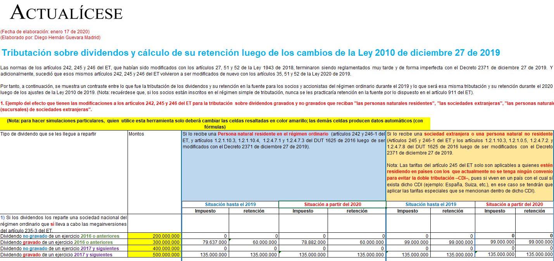 Tributación sobre dividendos y cálculo de su retención luego de la Ley 2010 de 2019