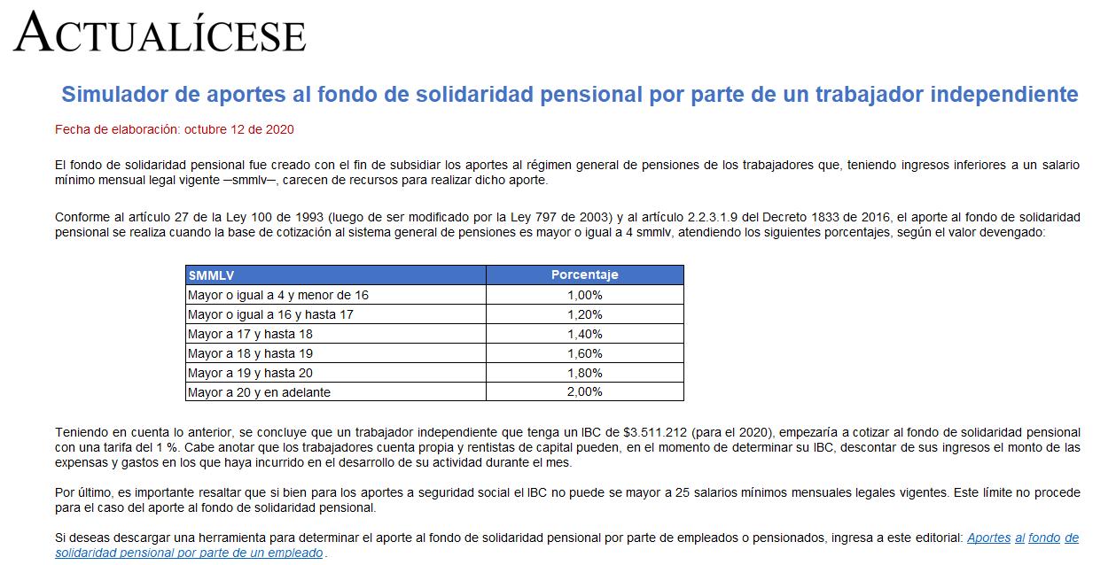 Simulador de aportes al fondo de solidaridad pensional por trabajadores independientes