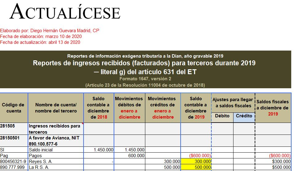 Formato exógena 1647 por el año gravable 2019: reporte de ingresos recibidos para terceros