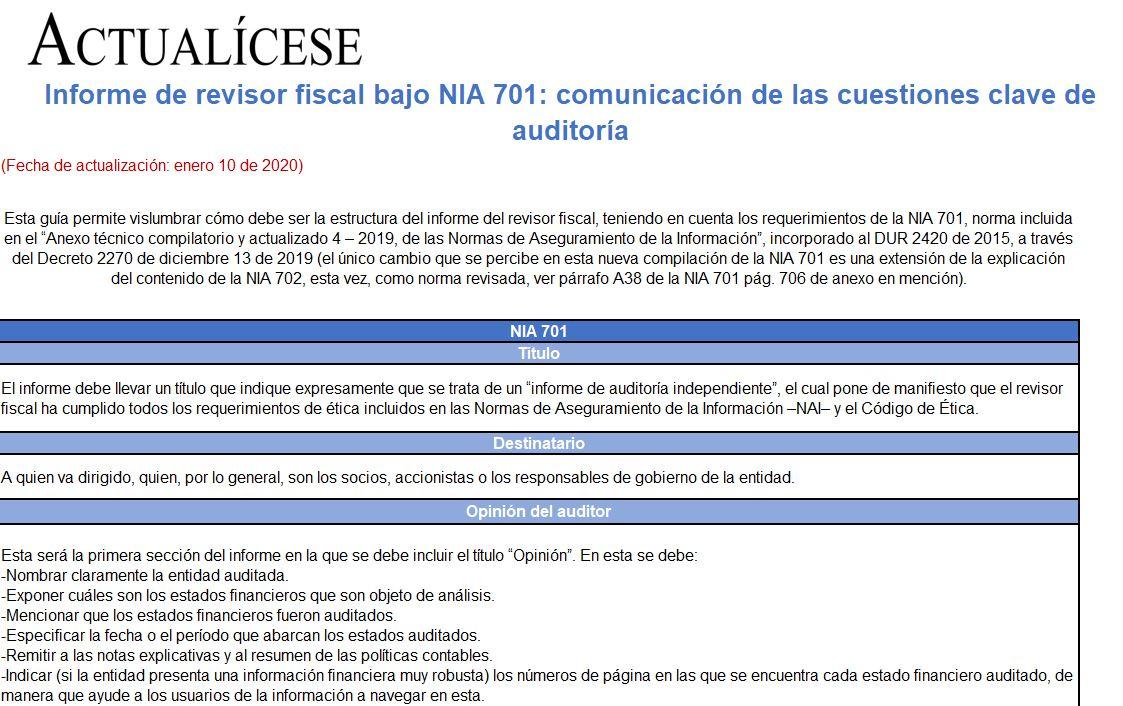 Informe de revisor fiscal bajo NIA 701: comunicación de las cuestiones clave de auditoría