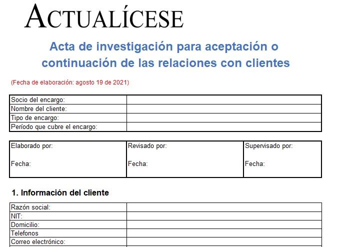 Acta de investigación para la aceptación de los clientes del revisor fiscal