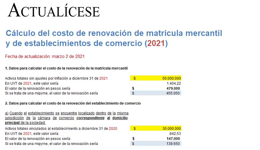 Liquidador del costo de renovación de matrícula mercantil y de establecimientos de comercio (2021)