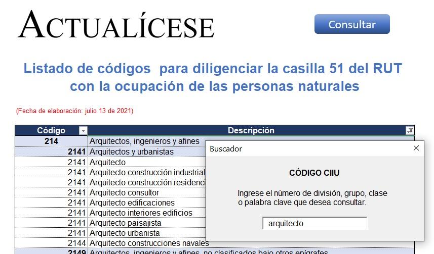 Listado de códigos para diligenciar la casilla 51 del RUT con la ocupación de las personas naturales