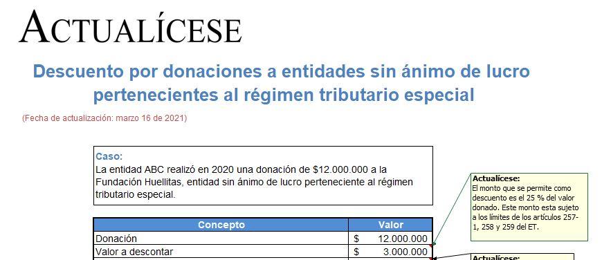 Simulador de casos de descuentos y donaciones especiales: conciliación contable y tributaria
