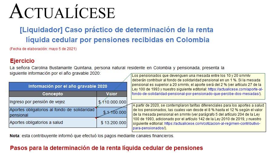 Caso práctico de determinación de la renta líquida cedular por pensiones recibidas en Colombia