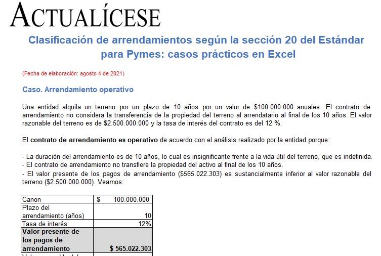 Clasificación de arrendamientos según la sección 20 del Estándar para Pymes: casos prácticos en Excel