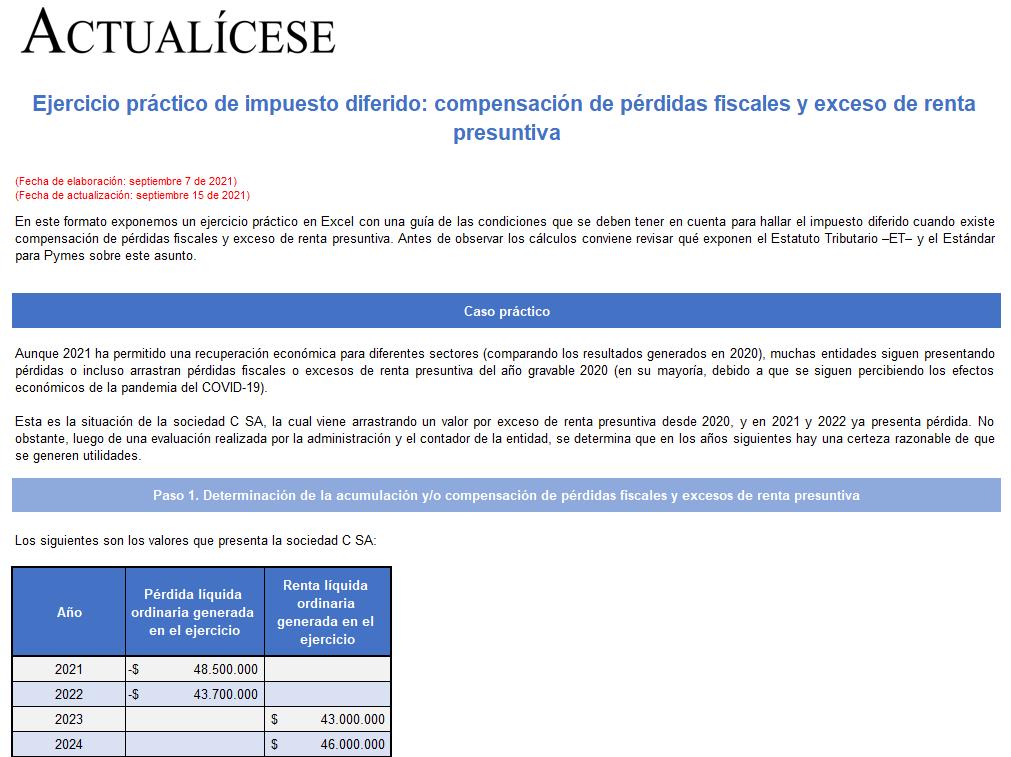 Ejercicio práctico de impuesto diferido: compensación de pérdidas fiscales y exceso de renta presuntiva